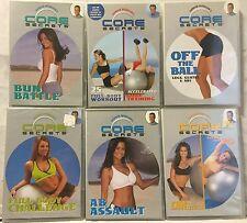 8 Core Secrets workouts on 6 DVDs lot, stability balance ball bun battle abs set