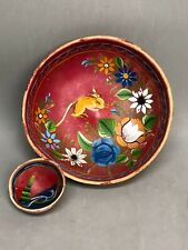 Rare Vintage Wooden Bowl Mexico Folk Art Floral Rabbit Hand Painted Int & Ext