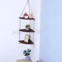 Wood Hanging Shelf Floating Rope Wall Corner Display Storage Rack Home DecorGift
