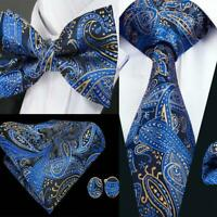 USA Blue Paisley Silk Tie Bowtie Set Mens Adjustable Tuxedo Pretied Wedding