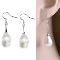 Dangle Drop Pearl Hook Silver Plated Filled Women Lady Crystal Stud Earring GIFT