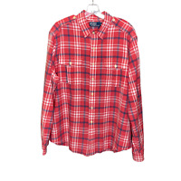 POLO RALPH LAUREN Men's Plaid Cargo Safari Long Sleeve Button Down Shirt-XL
