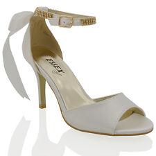 Womens Low Mid Heel Stiletto Peep Toe Ladies Diamante Ankle Strap Bridal Sandals