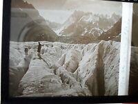 Plaque verre 6X13 stéréoscopique Chamonix mer de glace 1919