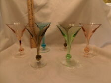 set of 6- Vintage Colored cocktail Ball Stem Glasses- see photos
