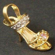 Lovely Solid Yellow Gold, Diamond High Heel Sling Back Sandal Shoe Pendant Charm
