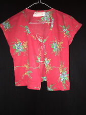 """Tie Up """"Maria"""" Blouse in Red Hawaiian Print Vintage 1950s Tiki by Young Hawaii"""