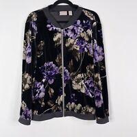 Chicos Size 2 Large L Velvet Floral Bomber Jacket Black Purple Full Zip Womens