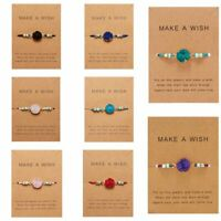 Make a Wish Natural Stone Charm Braided Rope Bracelet Friendship Card Fashion