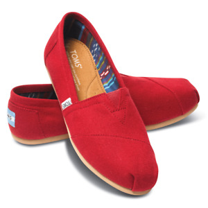 TOMS Authentic Classic Alpargata Womens Slip On Trainers Shoes Red