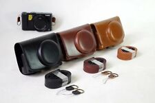 New Camera Bag PU Leather Case Cover For Panasonic Lumix LX10 L-X10 W Strap