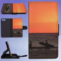 SEA SUNSET SURFER ORANGE FLIP WALLET CASE FOR APPLE IPHONE PHONES