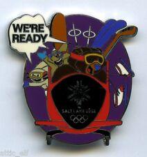 2002 Salt Lake Olympic Mascot Pin Powder Copper Coal Bobsleigh Ski Skate Hockey