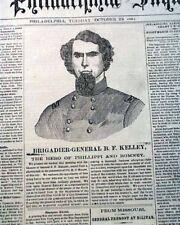 FIRST BATTLE OF SPRINGFIELD & Benjamin Franklin Kelley 1861 Civil War Newspaper