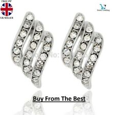 ANGEL WINGS WHITE GOLD PLATED STUD EARRINGS MADE WITH SWAROVSKI CRYSTALS UK