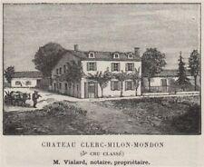 MÉDOC. PAUILLAC. Chateau Clerc-Milon-Mondon (5e Cru Classé). Vialard. SMALL 1908