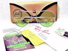 Ray-Ban USA NOS Vintage B&L Aviator GreenChangeable RB3 WhiteGold NEW Sunglasses