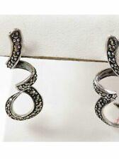 Sterling Silver 925 Earrings Vintage Antique Art Deco Marcasite Post Back Unique