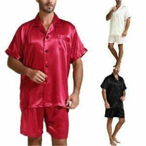Mens Pyjama Set Satin Silk Pajamas Suit Dressing Gown Summer Pjs Loungewear UK