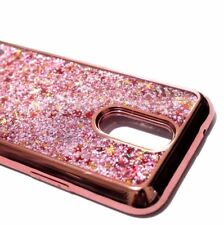 For LG V5 / K20 PLUS- Rose Gold Pink Glitter Stars Liquid Hybrid Skin Case Cover