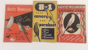 vintage Hartz mountain pet care booklets set of 3 canary Parakeet Dogs Cats 1954