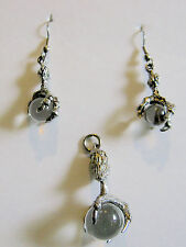 Earrings & Pendant Glass Pools of Light with Claw Hand Silvertone