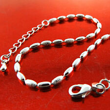 Anklet Real 925 Sterling Silver S/F Solid Ladies Bead Link Design 25Cm Fs3A755