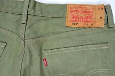 LEVIS 501 005011437 SHRINK TO FIT WHITE medium green MEADOW MENS 35 X 33 JEANS