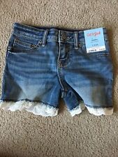 Cat And Jack Super Stretch Shorts Girls Size 6/6x Small Lace Jean Shorts Blue