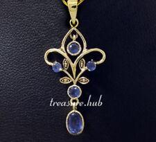 Genuine 9ct Gold Natural Sapphire Filigree Dangle Scroll Pendant Vintage style