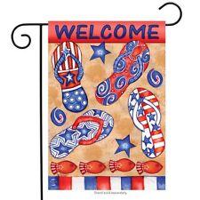 "Patriotic Beach Day Summer Garden Flag Flip Flops Welcome 12.5"" x 18"""