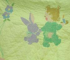 Baby Quilt Blanket Embroidered Cross Stitch Crib Bunny Rabbit Girl 40 x 59