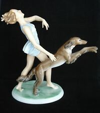 Vtg Rosenthal Runner With Saluki Porcelain Figurine #1607 G Oppel C.1936 Mint