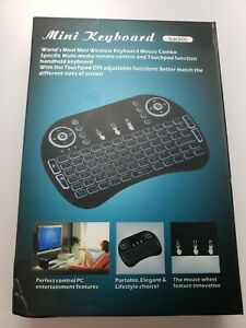 Multi Color Backlit Mini Keyboard TouchPad Wireless 2.4Ghz Rechargeable Battery