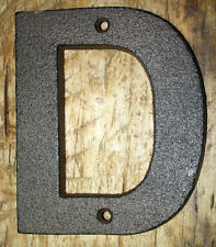 "Cast Iron Industrial LETTER D Sign Rustic Brown 5"" tall Alphabet"