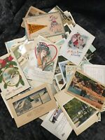 Vintage Postcards Unsorted Mixed Lot Scenery Christmas Travel Valentines 135+