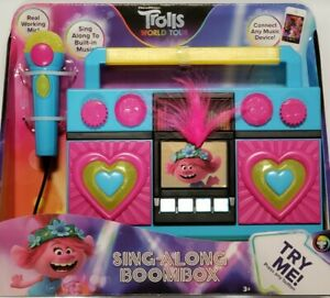 Trolls World Tour Sing-Along Boombox w/Microphone, Built-In Music & Connect NEW!
