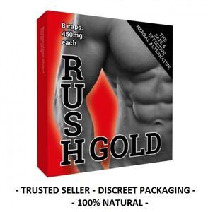 Rush Gold Pills 450mg x 8 Pack 100% Natural Performance Supplement For Men