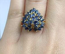 14k Solid Yellow Gold Heart Shape Ring, Natural Sapphire,Sz 7.75. 4.51 Grams