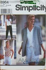 Simplicity Sewing Pattern Trousers Top Jacket 12-16 90s Vintage 8964 Uncut