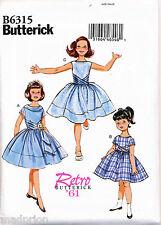 BUTTERICK SEWING PATTERN 6315 GIRLS SZ 2-5 RETRO '60s DRESS WITH GATHERED SKIRT