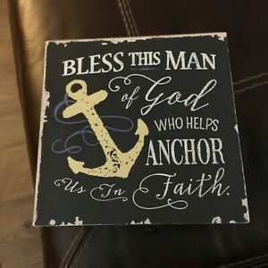 """6"""" Black Wood Box w/latch - """"Bless this man of God who helps anchor us in faith"""""""
