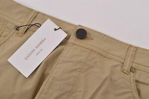 Luciano Barbera NWT 5 Pocket Casual Pants Sz 56 40 US Khaki Tan Cotton Blend