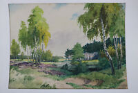 Gustav Müller Aquarell Landschaft mit Birken und Bach