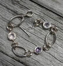 Michael Dawkins Sterling 925 Purple Stone Snakeskin Toggle Link Bracelet