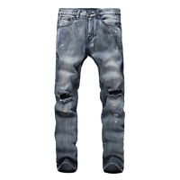 New Men's Fashion Straight Biker Jeans Pants Skinny Denim Ripped Trousers Blue