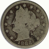1888 5C Liberty V Nickel Raw Circulated US Coin