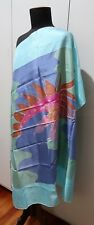 *94cm Square Hand Dyed Blue & Multicoloured Silk Scarf