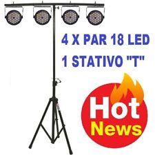 """Set di effetti luci discoteca teatro 4 par 18 led rgb + stand """"T"""" PSICHEDELICHE"""