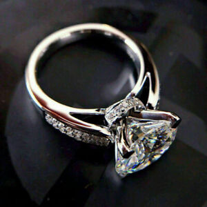 3Ct Round Cut Moissanite Solitaire Women's Engagement Ring 14K White Gold Finish